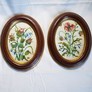 Two Framed Vintage Needlepoint Floral Wall Art NYC